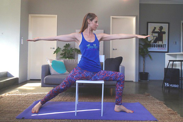 Warrior 2 With Chair (Virabhadrasana 2)