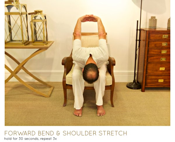 chair yoga - forward bend -shoulder stretch