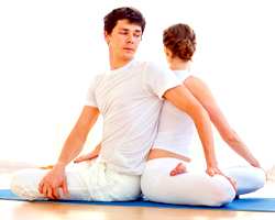Partner Seated Twist Sukhasana