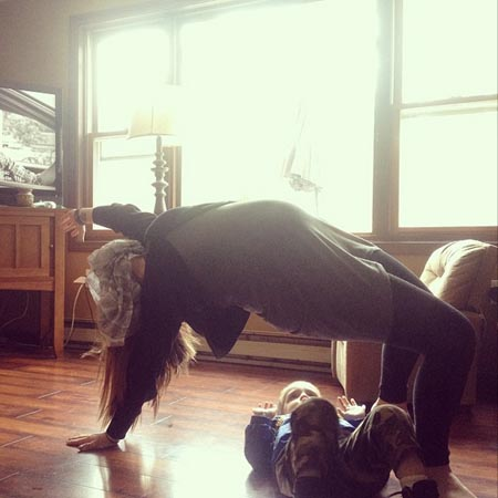 Mom Kids Yoga, camonlipstick on Instagram Upward Bow