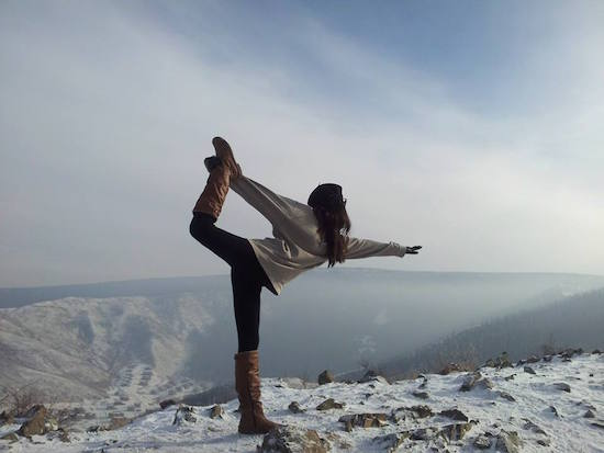 Woman mountain yoga