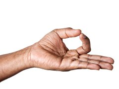 Hand with thumb and index finger touching in Gyana mudra