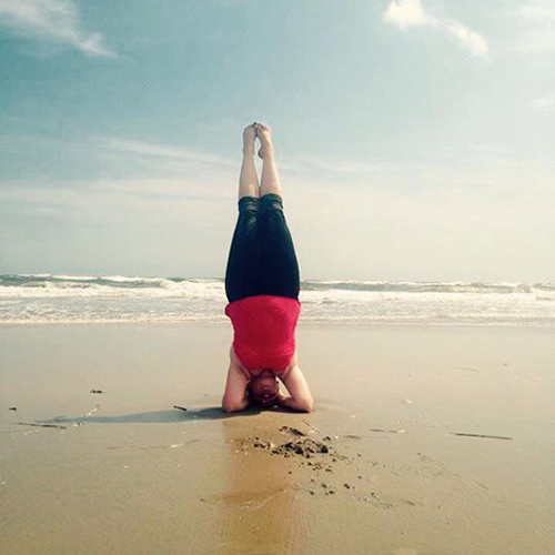 Head Stand on the beach