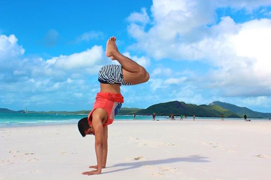 Hand Stand on the beach