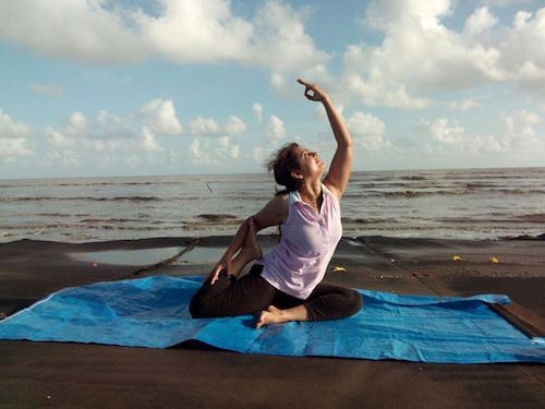 Beach yoga picture
