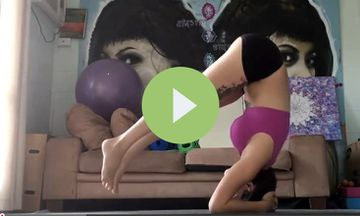 Arrogant Cat Takes Over Yoga Video