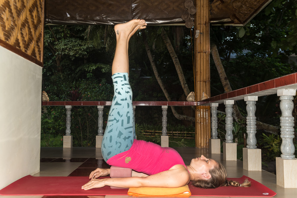 Supported Shoulderstand with blocks