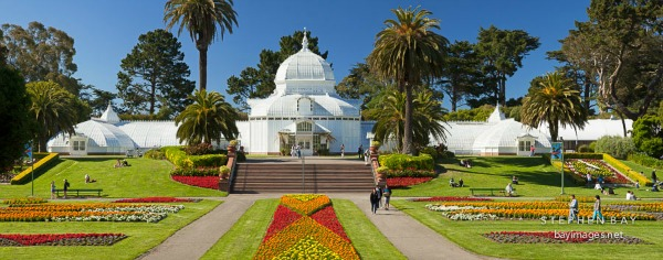 Panorama of Conservatory of Flowers. Golden Gate Park, San Francisco.