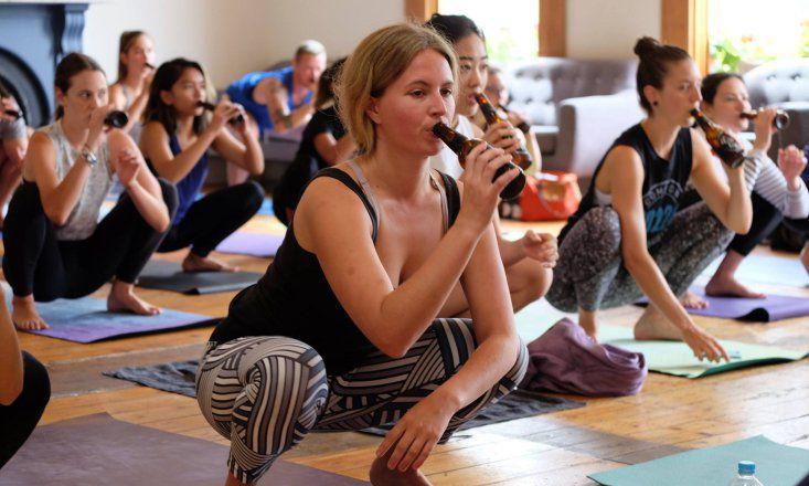The Beer Yoga Craze Has Gone International
